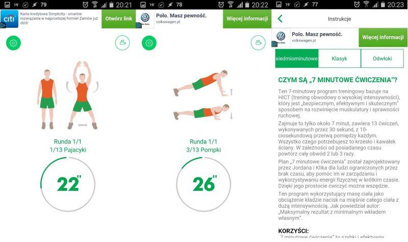 aplikacja 7 minutowe cwiczenia