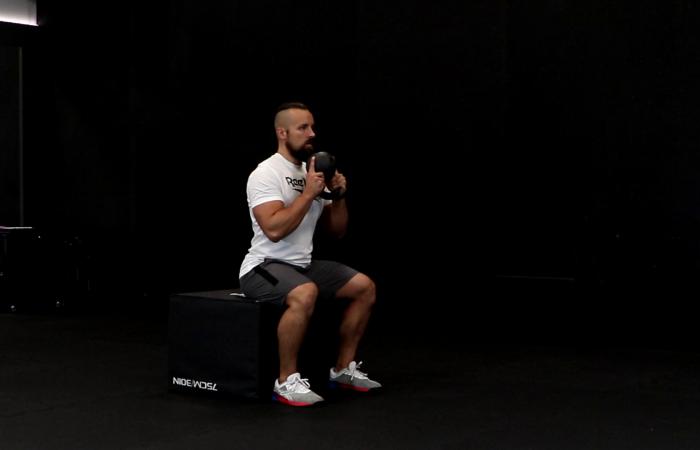 Goblet box squat